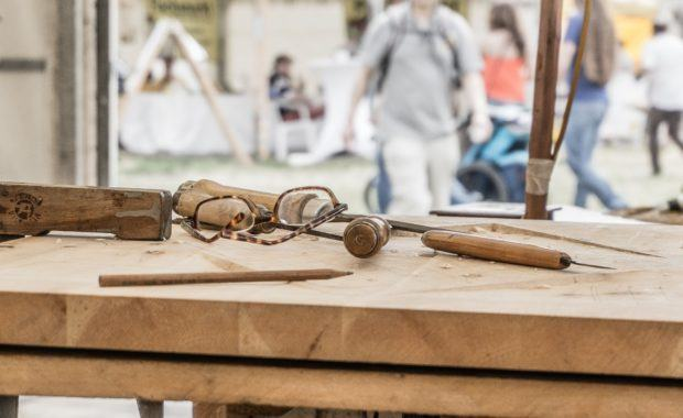 Image of a table with tools and glasses on it