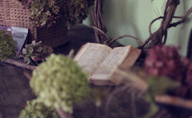 Bible sitting on a table with flowers around it.